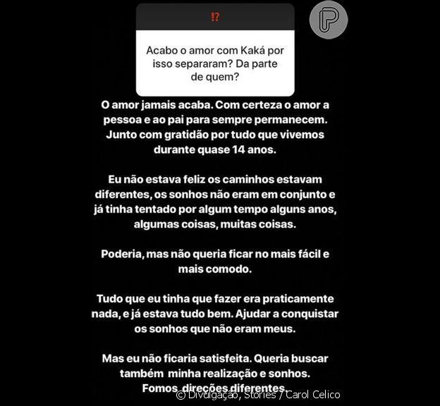 Carol Celico explica fim de noivado com Kaká e avalia relação com atual noiva do jogador