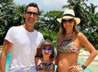 Grávida da 2ª filha, Ticiane Pinheiro combina roupa de praia com marido e filha
