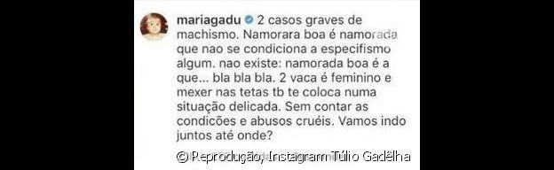 Maria Gadú comentou em foto de Túlio Gadêlha
