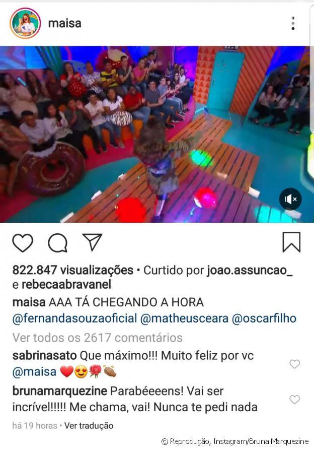 Bruna Marquezine quer ser convidada para programa de Maisa Silva