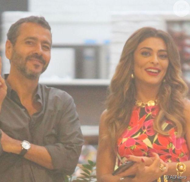 Marcos Palmeira divertiu Juliana Paes em intervalo de gravação da novela 'A Dona do Pedaço' em shopping do Rio de Janeiro na noite desta sexta-feira, 17 de maio de 2019