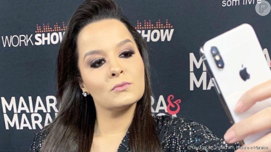 Dupla de Maraisa, Maiara usa look com brilho e decote em show neste domingo, dia 28 de maio de 2019