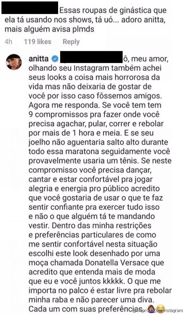 Anitta responde comentário de fã sobre seus looks em turnê