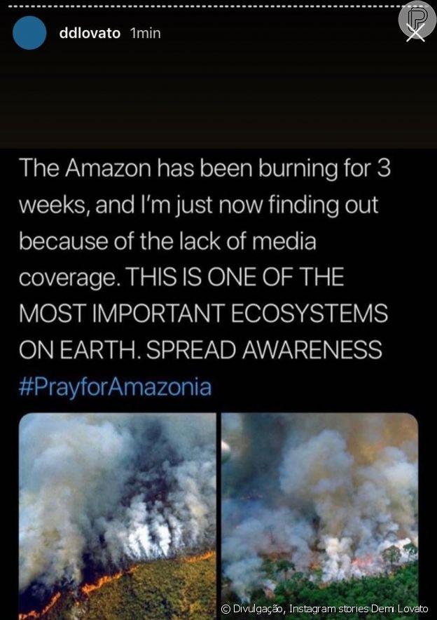Demi Lovato lamenta o desmatamento na Amazônia