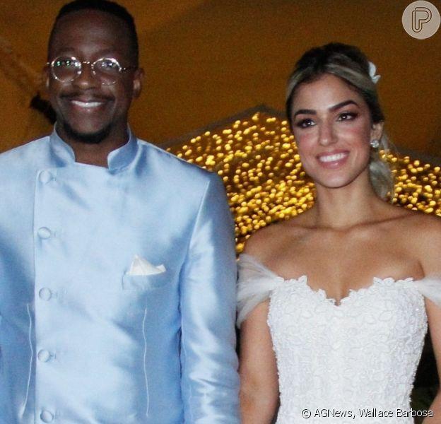 Noiva de Mumuzinho usa vestido com 10 mil mini pérolas e cristais. Veja fotos do casamento, realizado na noite de sábado, dia 31 de agosto de 2019