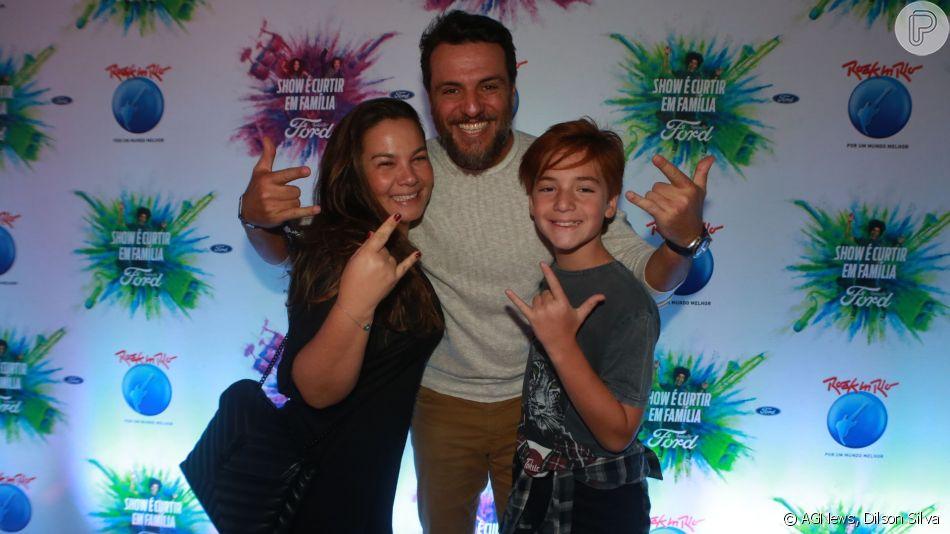 O ator Rodrigo Lombardi levou a mulher, Betty Baumgarten, e o filho, Rafael, no Rock in Rio nesta sexta-feira, dia 27 de setembro de 2019