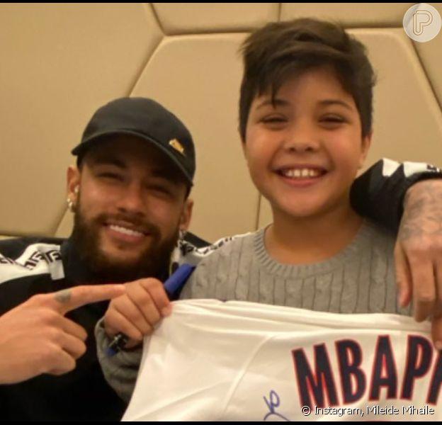 Filho de Wesley Safadão, Yhudy conhece Neymar e agradece ao pai em vídeo postado pelo cantor neste domingo, dia 22 de dezembro de 2019