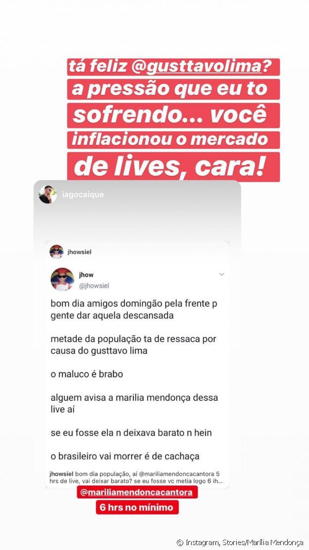 Marília Mendonça cita Gusttavo Lima após fãs pedirem para que ela faça uma live luxuosa