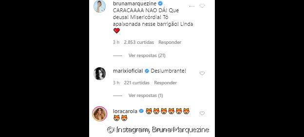 Giovanna Ewbank ganha elogios de Bruna Marquezine e mais famosas em foto de topless na gravidez