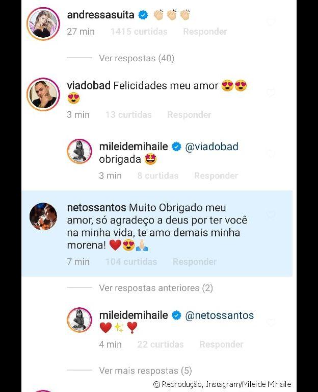 Namorado de Mileide Mihaile retribui comentário em foto
