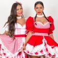 Simone e Simaria usaram  trajes típicos em live junina