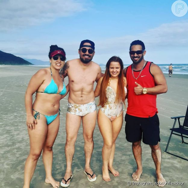 Maiara e namorado, Fernando Zor, combinam look moda praia