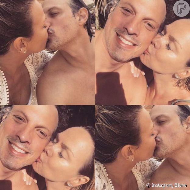 Noivo de Eliana, Adriano Ricco apareceu em fotos trocando beijos com a apresentadora