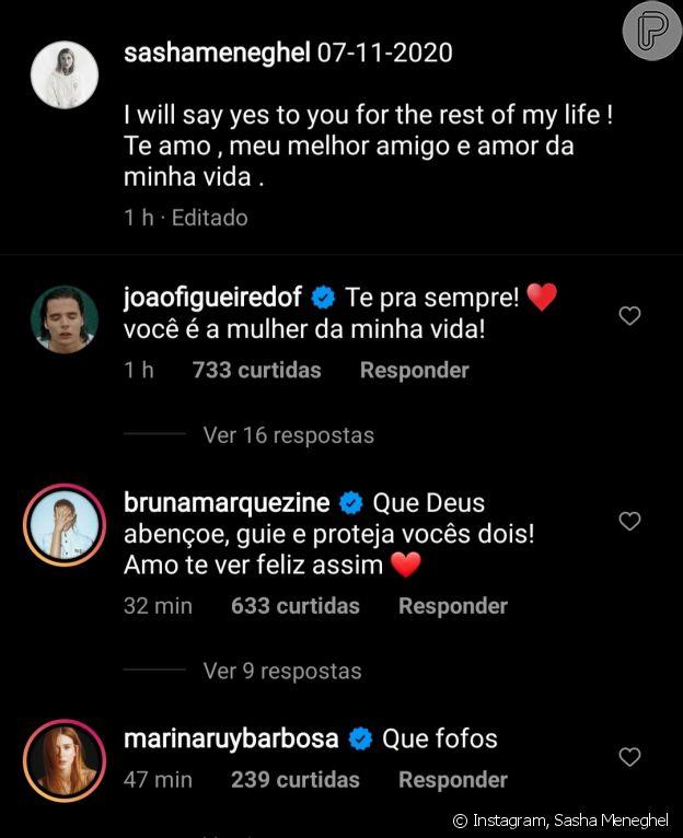 Sasha Meneghel ganha comentário de Bruna Marquezine ao anunciar noivado com João Figueiredo