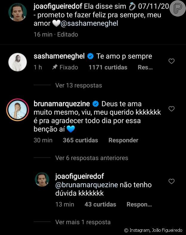 João Figueiredo recebe comentário de Bruna Marquezine ao anunciar noivado com Sasha