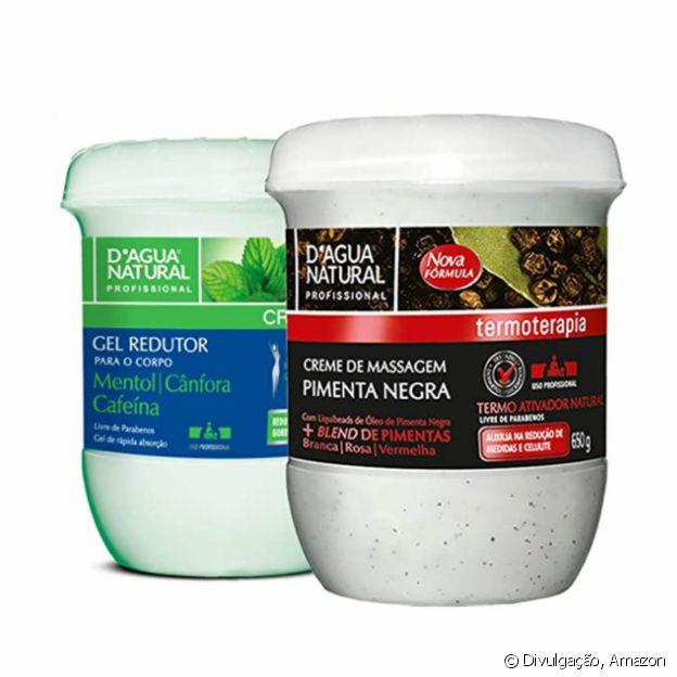 Kit Massagem Pimenta Negra e Gel Redutor, da D'Agua Natural
