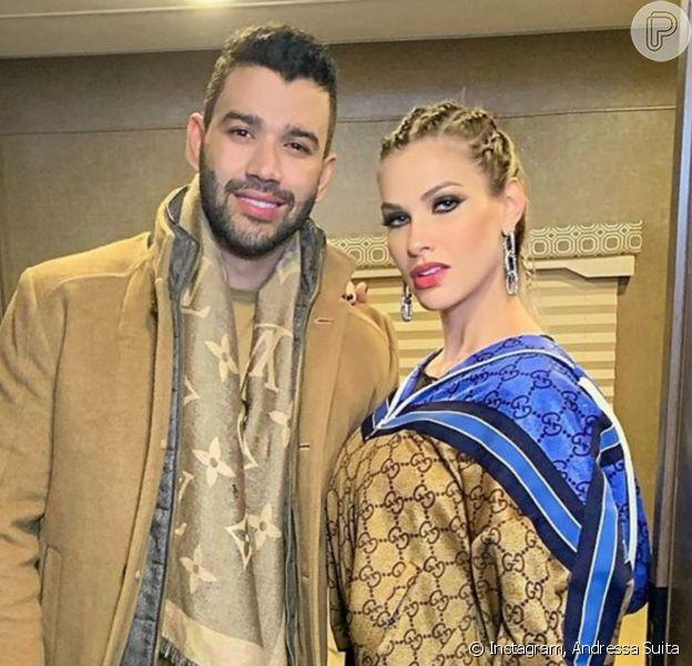 Andressa Suita reagiu à previsão de que retomaria casamento com Gusttavo Lima e teria um terceiro filho do cantor