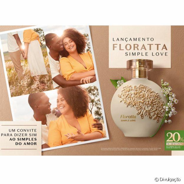 A linha Floratta Simple Love, do Boticário, está com 20% de desconto em todos os canais de venda da marca