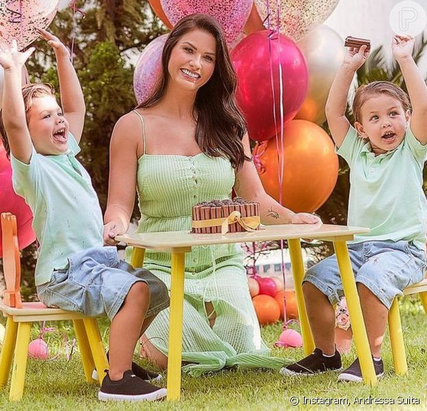 Andressa Suita assumiu que está muito cansada com a mudança de rotina dos filhos