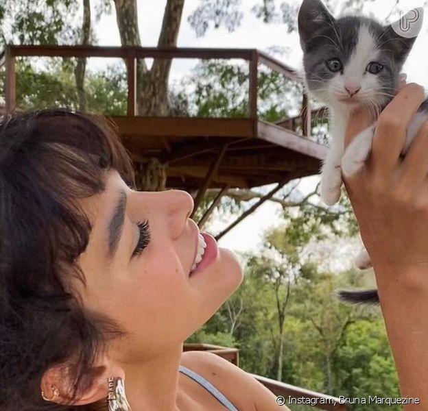 Bruna Marquezine contou que a gatinha que adotou com Enzo Celulari a está ajudando muito nos últimos dias