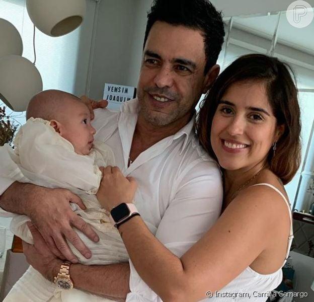 Zezé Di Carmargo aparece em batizado da neta após polêmica com Rodrigo Faro