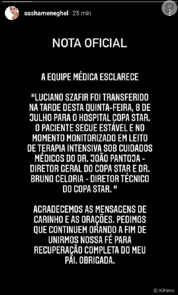 Sasha antecipa volta ao Brasil e pede orações para o pai, Luciano Szafir: 'Unirmos nossa fé'