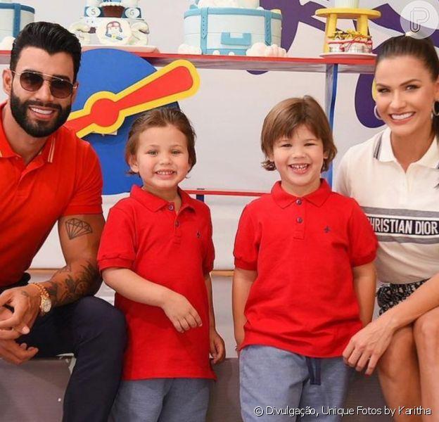 Gusttavo Lima, Andressa Suita e filhos do casal são vistos juntos em Brasília. Veja foto!