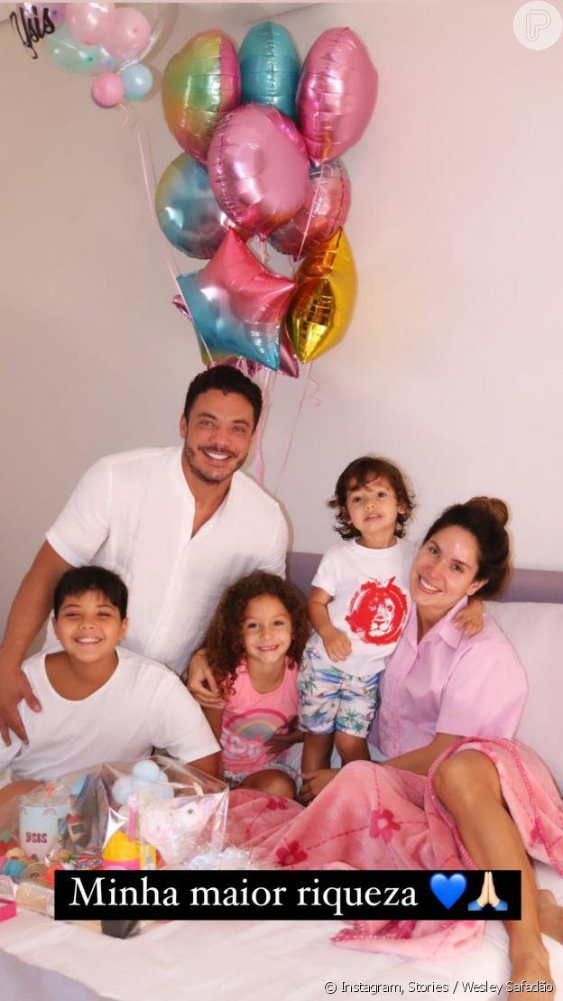 Wesley Safadão e Thyane Dantas acordam filha Ysis com surpresa em aniversário de 7 anos