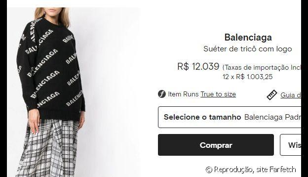 O casaco usado por Sasha pode ser comprado por R$ 12 mil