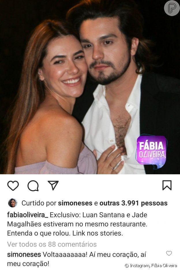 Simone comentou post da colunista Fábia Oliveira sobre Luan Santana e Jade Magalhães