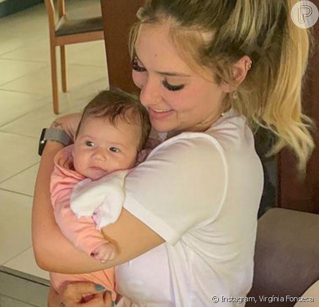 Virgínia Fonseca explicou aos seguidores nesta segunda-feira (16) que Maria Alice está menor do que aparenta, após apontarem o rápido crescimento da menina