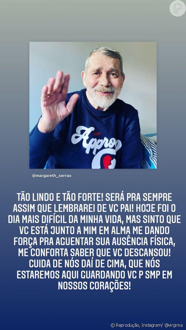 Virginia Fonseca postou uma homenagem ao pai nos Stories, do Instagram