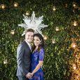 Thais Fersoza usou vestido azul no seu casamento com Michel Teló, em outubro de 2014