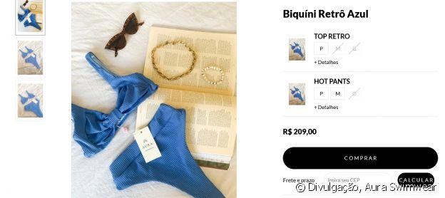 Larissa Manoela usou biquíni retrô azul da marca Aura Swimwear, de R$ 209