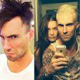 Adam Levine, vocalista do Maroon 5, repaginou o visual em maio. O cantor platinou os fios