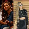 Beyoncé fez duas mudanças no visual em maio. Ela abandonou o black loiro e voltou ao tom chocolate liso. Depois, a cantora resolveu usar aplique com trancinhas claras