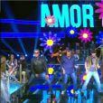 Pedro Novaes disputa air guitar com Otaviano Costa, Alexandre Borges e José Loreto no programa 'Amor & Sexo'