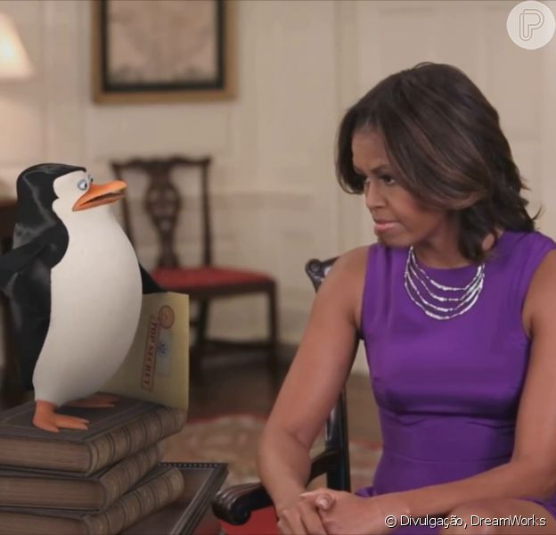 Michelle Obama conversa com Capitão em vídeo do filme 'Os Pinguins de Madagascar'