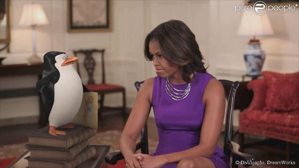 Michelle Obama conversa com Capitão em vídeo do filme 'Os Pinguins de Madagascar'