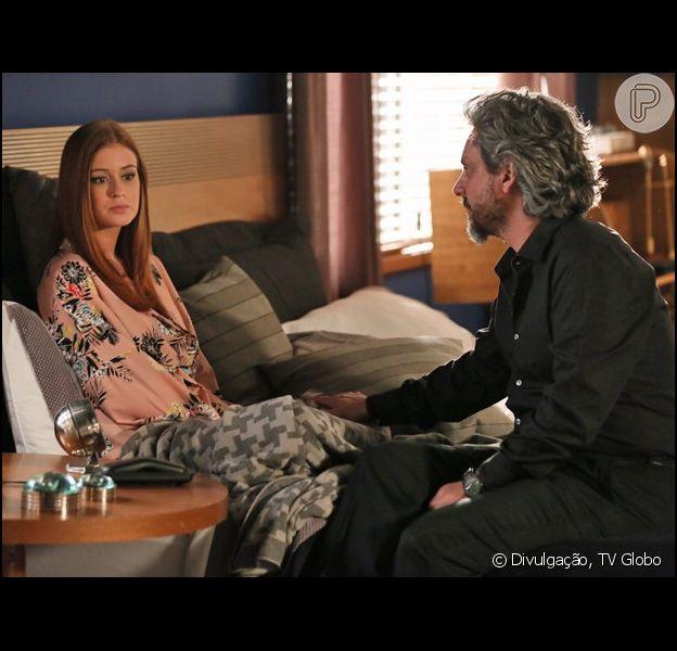 Maria Isis (Marina Ruy Barbosa) discute com José Alfredo (Alexandre Nero), e avisa que não quer mais ser chamada de 'sweet child': 'Não sou mais criança', ela diz, em cena de 'Império'