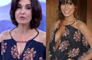 Fátima Bernardes repete no 'Encontro' look usado por Carla Salle, de 'Babilônia'