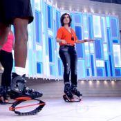 Fátima Bernardes pratica hopping no 'Encontro' e brinca:'Difícil é falar depois'