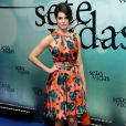 Maria Flor escolheu um look de brechó para prestigiar a festa de lançamento de 'Sete Vidas'
