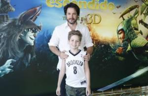 Murilo Benício leva o filho Pietro para a estreia da animação 'Reino Escondido'