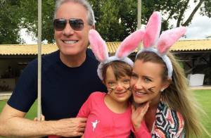 Roberto Justus comemora dia de Páscoa com a noiva e a filha, Rafaella Justus