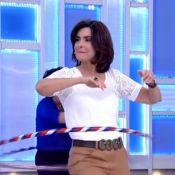 Fátima Bernardes faz aula de bambolê fitness no 'Encontro': 'Realmente funciona'