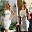 Seguindo essa linha de repetição de look caros, Juju Salimeni usou um vestido branco com recorte estratégico de Hérve Léger de R$ 10 mil! A mesma peça foi escolhida por Lala Rudge