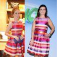 O vestido listrado da grife Carolina Herrera usado por Marina Ruy Barbosa e repetido por Fátima Bernardes em agosto de 2013 custa R$ 3.260