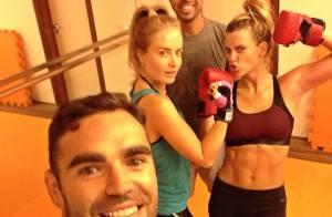 Carolina Dieckmann exibe barriga sarada em treino com Angélica: 'Vai encarar?'