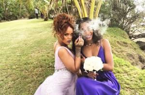 Rihanna é dama de honra no Havaí e se diverte em festa de casamento. Veja fotos!